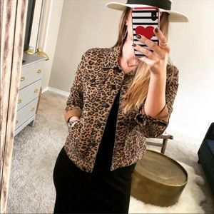 Leopard animal print denim button down jean jacket
